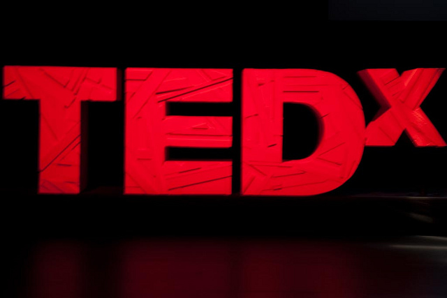 TEDx Logo on stage
